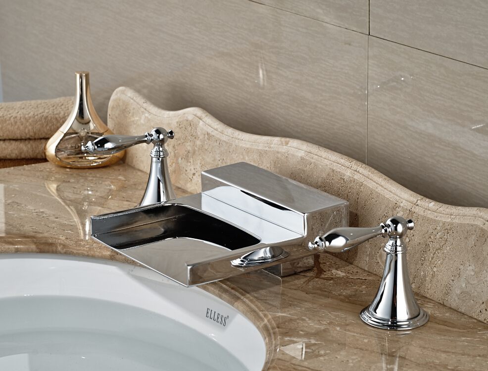 Brief Chrome Brass Deck Mounted Bathroom Basin Faucet Waterfall Mixer Tap With Double Handle polished chrome deck mounted bathroom kitchen faucet tap single handle with brass soap dispenser