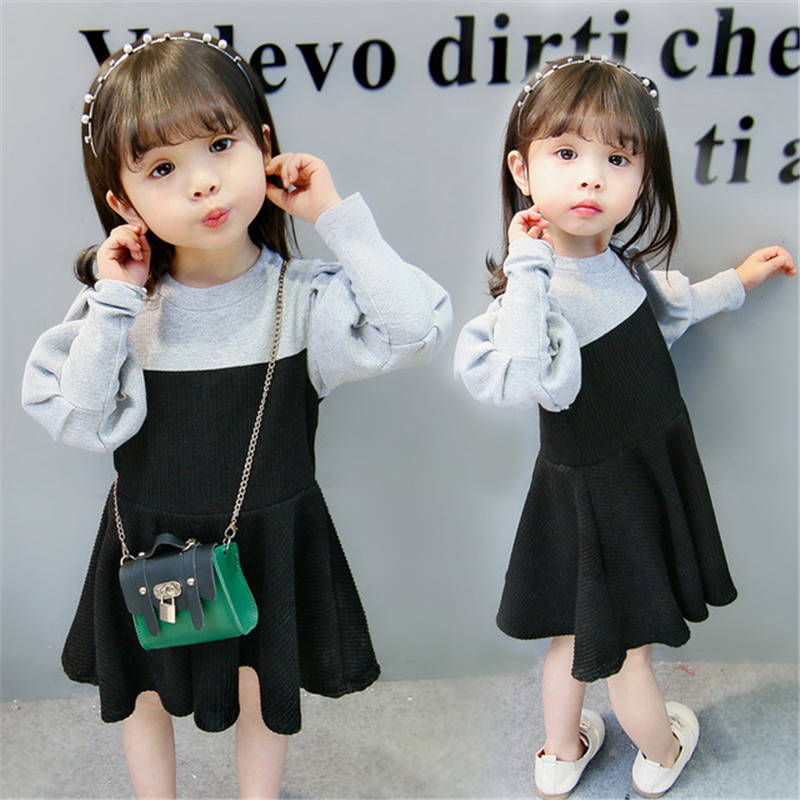 2018 Spring Autumn Girls Lantern Sleeve Dresses Baby Thick Warm Knitted Dresses Toddlers Clothing Children Kids Outerwears <font><b>P250</b></font> image