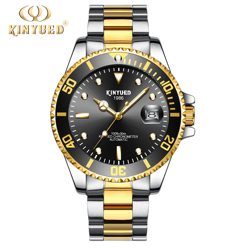 KINYUED Mens Waterproof Mechanical Watches Luminous Steel Band Automatic Watch Men Auto Date relogio masculino with gift box tevise auto date automatic self wind watches nylon band green black watch men mechanical fashion casual clock with box