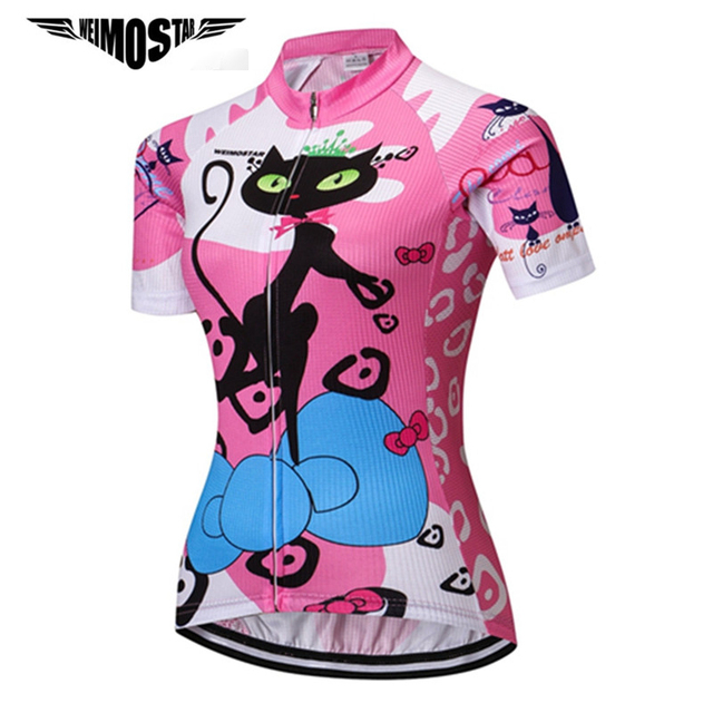 Weimostar Cat Girl Cycling Jersey Women Summer Breathable Bicycle Clothing  Ropa Ciclismo Quick Dry mtb Bike ae2dd9b29