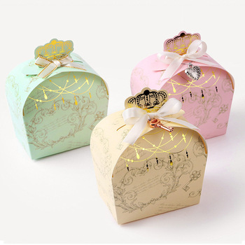 30pcs/lot Colourful Crown Box Foil Gold Present Carton Candy Coookie Pouch Kraft box Gift Boxes Wedding Party Supply фото