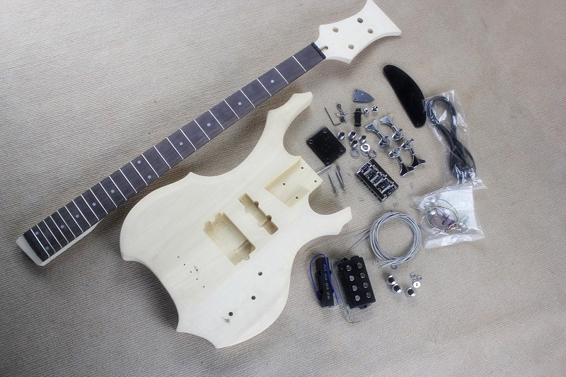factory custom unusual shape electric bass guitar kit parts with 4 strings chrome hardware diy. Black Bedroom Furniture Sets. Home Design Ideas