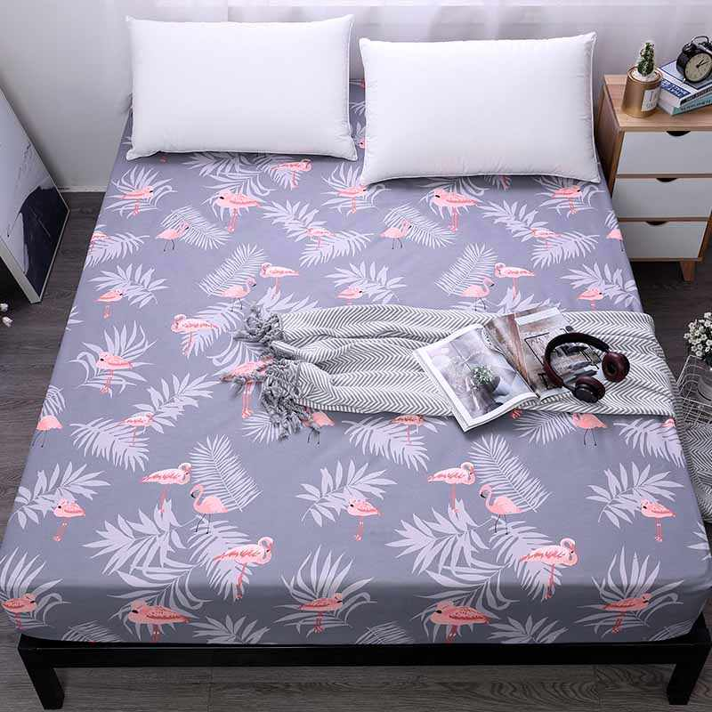 Flamingo Fitted Sheet With Elastic Band Deep 25cm Mattress Cover Bedding Linens Bed Sheets On Elastic Band Flamingos Bed sheet