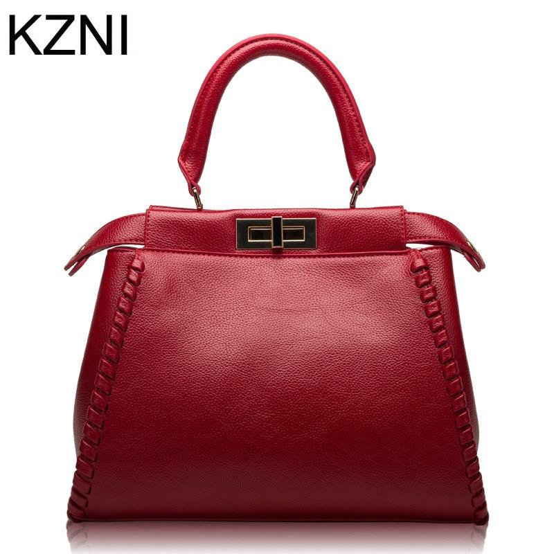 KZNI designer bags famous brand women bags 2017 genuine leather handbags luxe handtassen vrouwen tassen designer L010126