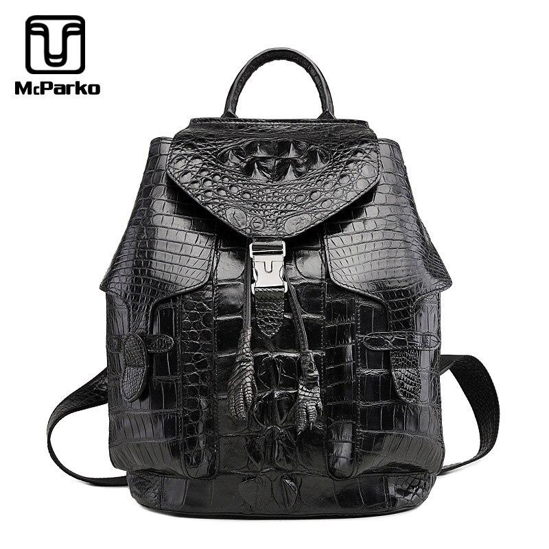 McPARKO Luxury Crocodile Backpack Men Genuine Leather Alligator Back Pack Korean Style Bags For Men BLACK BROWN