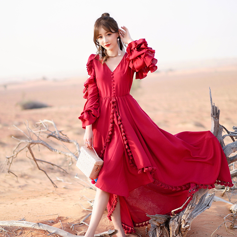 YOSIMI 2019 Summer Maxi Cotton and Linen Vintage Long Women Dress Party Dresses Red V-Neck Full Sleeve Sashes Female Vestidos