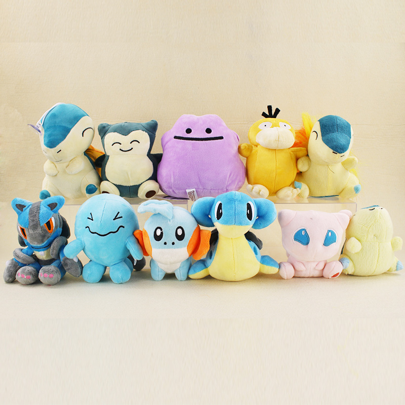 17cm Anime Cartoon Lucario Mudkip Mew Psyduck Snorlax Cyndaquil Wobbuffet Lapras Ditto Plush Toy Stuffed Animals