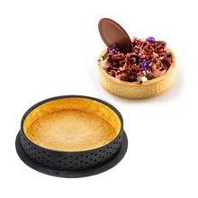 1PC DIY 프랑스 디저트 Bakeware 절단기 둥근 모양 꾸미는 공구 케이크 형 타트 반지 실리콘 천공 된 무스 원형 부엌