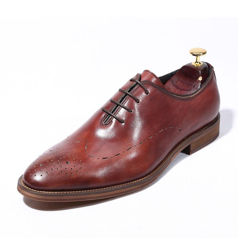 Boda Oxfords De Zapatos Partido Ocio Estilo as Británico Tallado Genuino Cuero Brogue As 3 Del Show as 1 2 Vestido wXw1xz8