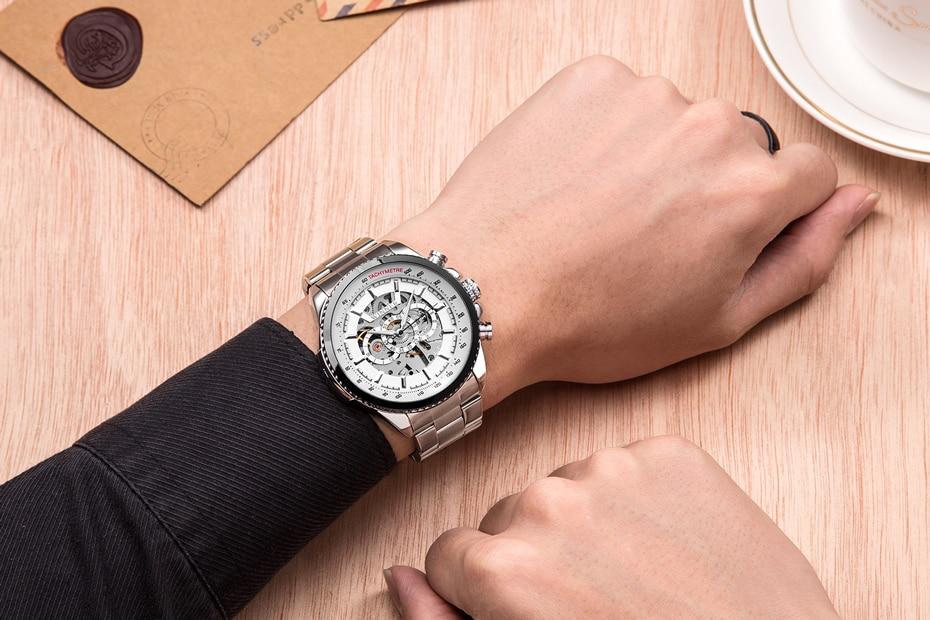 HTB1MislXFP7gK0jSZFjq6A5aXXa4 2018 WINNER Fashion Design Black mechanical Watch Steel Automatic watch men black stainless steel band business Relogio Male-428