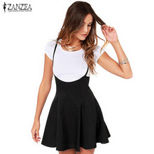ZANZEA Women 2017 Summer Sexy Ladies Skirts Oversized Vintage High Waist Strapless Solid Pleated Hem Mini Skirts Plus Size S-3XL