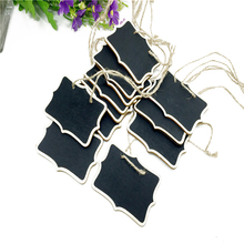 цена 1pcs/lot 6*8cm Double Side Natural Wooden Clip With Rope Blackboard For Kids Gifts Price Party Decorative Display Board онлайн в 2017 году