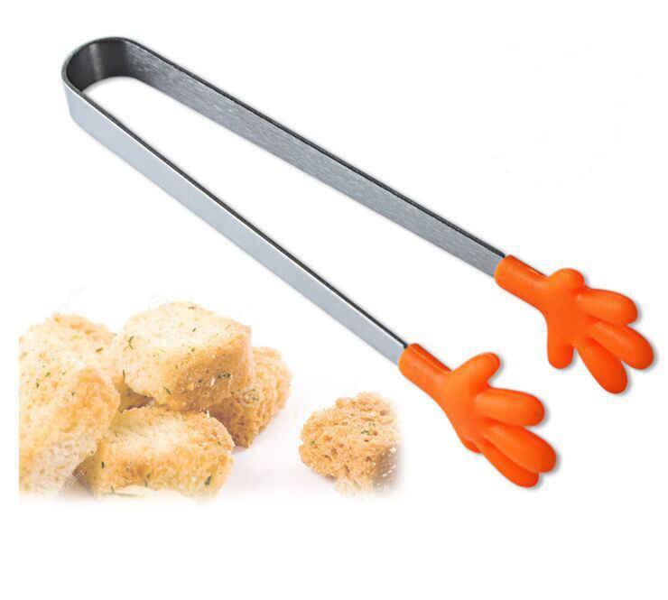 1 pcs Food Clipe Grampo do Punho de Aço Inoxidável Mini Alicates Tongs Silicone Utensílios de Cozinha Salada Mão Clipe Comida Pasta Clips Cozinha