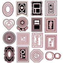 Сшитые прямоугольники зубчатые овалы круги сердца Восьмиугольные металлические режущие штампы для DIY бумажные карточки для скрапбукинга ремесла Новинка