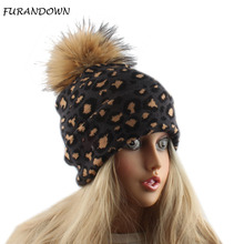 Winter Hats For Women Leopard Knitted Beanie Cap Real Fur Pompom Hat Cashmere Rabbit Knit Slouchy Beanies Ladies Skullies vr046 knitted knit new real rabbit