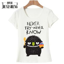 8ed848419ddc6 JIEXISHENG Summer Style Short Sleeve Funny imp Printed thirt Casual T-Shirts  Women
