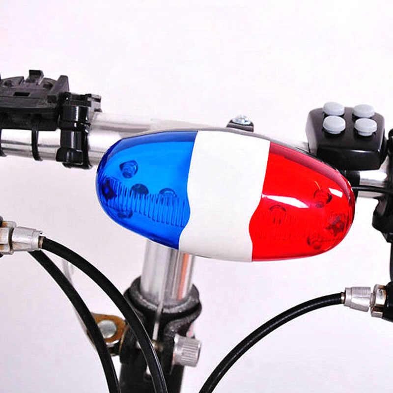 دراجة دراجة مصباح 6 وامض LED 4 الأصوات الشرطة بوق الإنذار جرس الدراجة الخلفية ضوء مقاوم للماء السلامة تحذير ضوء FI-19ING