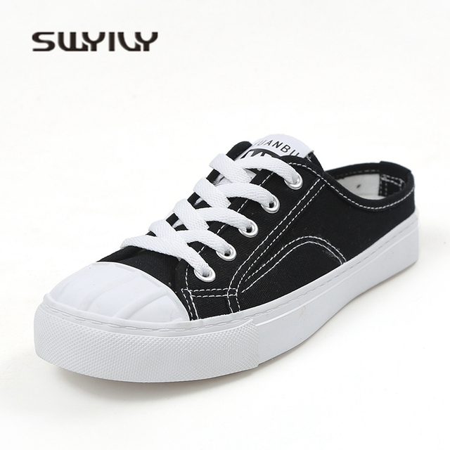 SWYIVY Woman Canvas Slippers Shoes White 2018 Spring Summer New Female Half  Slipper Sneakers Shoes Woman 1d92da29e6ae