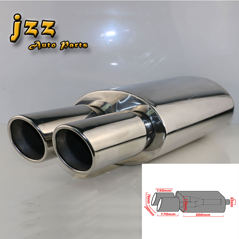 JZZ EXHAUST ID:2.5 OD:3 Length:20.5 Y-PIPE Transition Double Tips Polished Universal Racing Performance Car Exhaust Muffler universal black 3 76mm polished aluminum fmic intercooler piping kit diy pipe length 450mm for toyota supra jza80 hu lgtj76 450