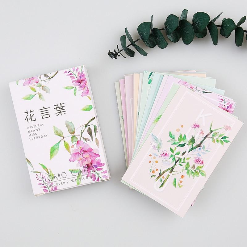 28 pcs/set card lover Plant Flower mini card greeting card lomo memo card kids gift postcard kawaii stationery
