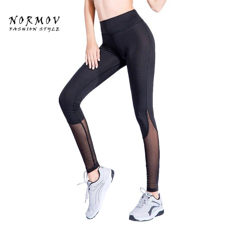 NORMOV női hálós parketta boka leggings szexi poliészter edzés átlátszó fekete lélegző Cintura Alta nagy méretű leggings