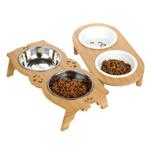 Fashion Dog Feeders Bowl Bamboo Tableware Ceramic and Stainless Steel Double Mouth Bowl High Grade Antiskid Pet Supplies he pet supplies cat bowl dog tableware ceramic stainless steel frame easy clean three color high depth and shallow drink bowl