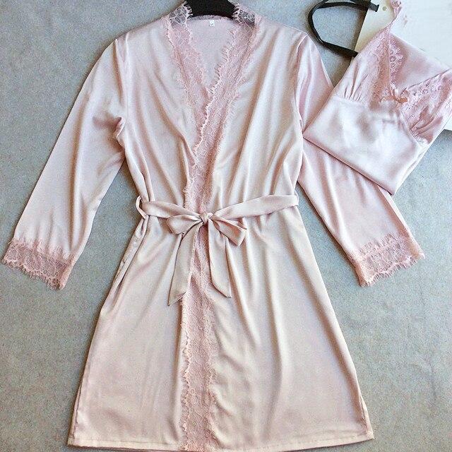 High Quality Brides Wedding Robe Gown Sexy New Womens Satin Lace Sleepwear 2PCS Nightgown Set Kimono With Nightie M L XL XXL