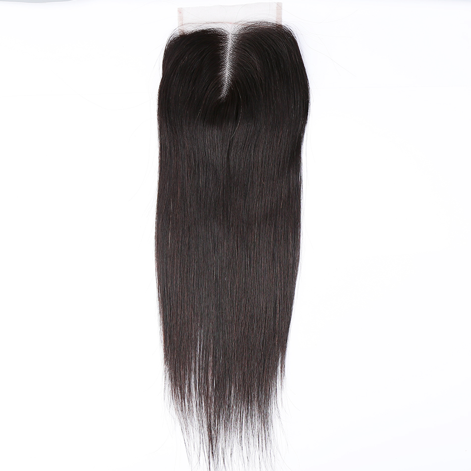 Halo Hair Brazilian Straight Hair Closure Remy Hair Natural Color Middle/Free/Three Part Lace Closure With Baby Hair