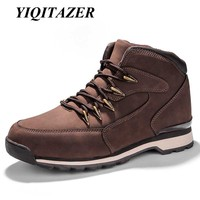 YIQITAZER 2017 New Autumn Winter Casual Shoes Men Shoes Leather Rubber Soles High Top Lace Up