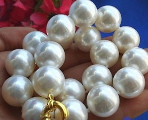 Hot! 20mm south sea white Shell Pearl Necklace  5T4TY4Hot! 20mm south sea white Shell Pearl Necklace  5T4TY4