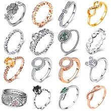 Горячая Распродажа, розовое золото, серебро, 30 стилей, штабелируемые вечерние кольца на палец с сердечком для женщин, бренд, ювелирное изделие, подарок, новинка