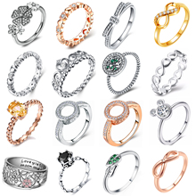 Hot Sale Rose Gold Silver 30 Styles Stackable Love Heart Party Finger Ring For Women Original Brand Jewelry Gift 2019 New