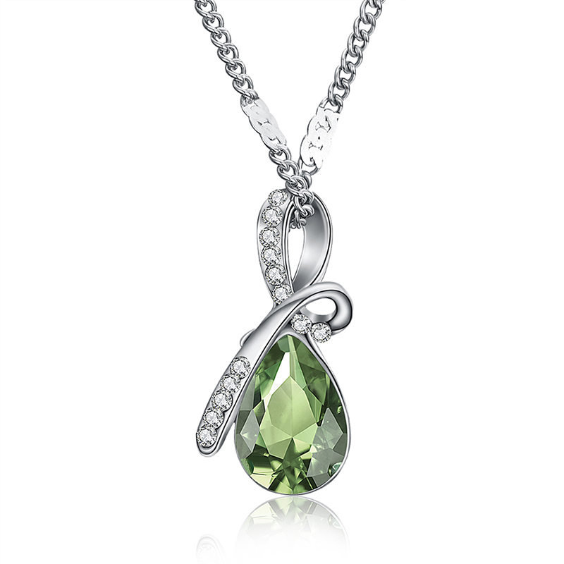 MISANANRYNE Fashion 10 Colors Austrian Crystal Water Drop Pendants&Necklaces Chain Necklace Fashion Jewelry For Women 4