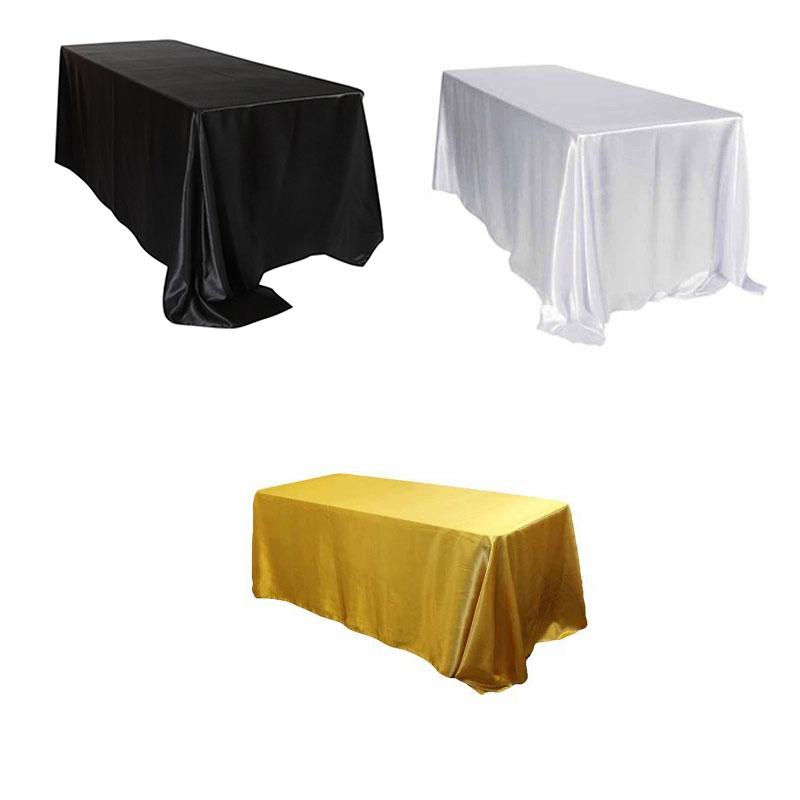 10pcs 228x335cm White/Black Satin Tablecloth Rectangular Hotel Banquet Table Cloth For Wedding Party Christmas Home Decoration