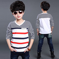 Camisetas listradas para Os Meninos Outono Algodão Tees Crianças Roupas Menino Adolescente Outerwear Primavera Criança Infantil Tops Camisas 4 6 8 10 12 T