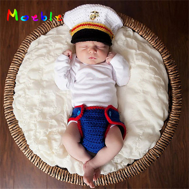9b2c6809edfc2 Crochet Marine Corps Newborn Baby Photography Props Knitted Infant Boys  Photo Clothing Set Fancy Costume Fotografia