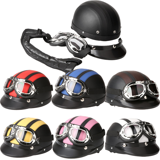 Professional Motorcycle Helmet Scooter Open Face Half Leather Helmet with Visor UV