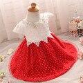 Alta Qualidade Da Criança Do Bebê Vestido de Batismo Batismo Vestido Para Recém-nascidos infantil 0 1 2 Ano da Festa de Aniversário Vestido de Presente Vermelha rosa