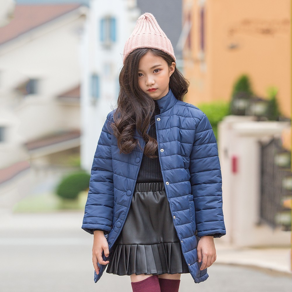 Long Teenage Girls Winter Coats And Jackets Cotton Padded Autumn Big Girls Jackets Kids Winter Blue Black Chidlren Clothing teenage girls winter fleece long coats and jackets kids double breasted warm padded cotton solid jacket girl children clothing