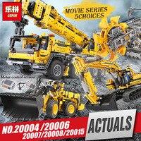 DHL LEPIN 20004 20006 20007 20008 20015 Technic series excavator Model Building Kit Blocks Brick Compatible Legoinglys 8043 toys