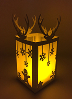 BOSHENG DIY Paper Light Christmas Snowman Light Christmas Silhouette Luminary Lantern Shadow Box Indoor Decor
