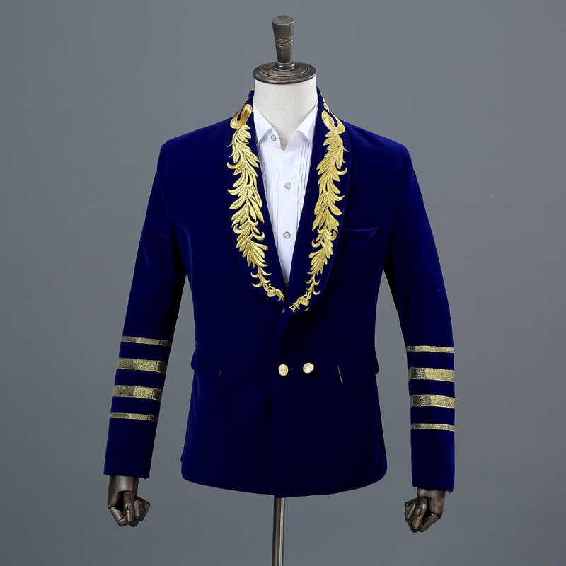 גברים של זהב רקמת טור כפתורים כפול קטיפה חליפת מעיל 2018 חדש לגמרי צעיף צווארון צבאי סגנון מסיבת שלב בלייזר Masculino