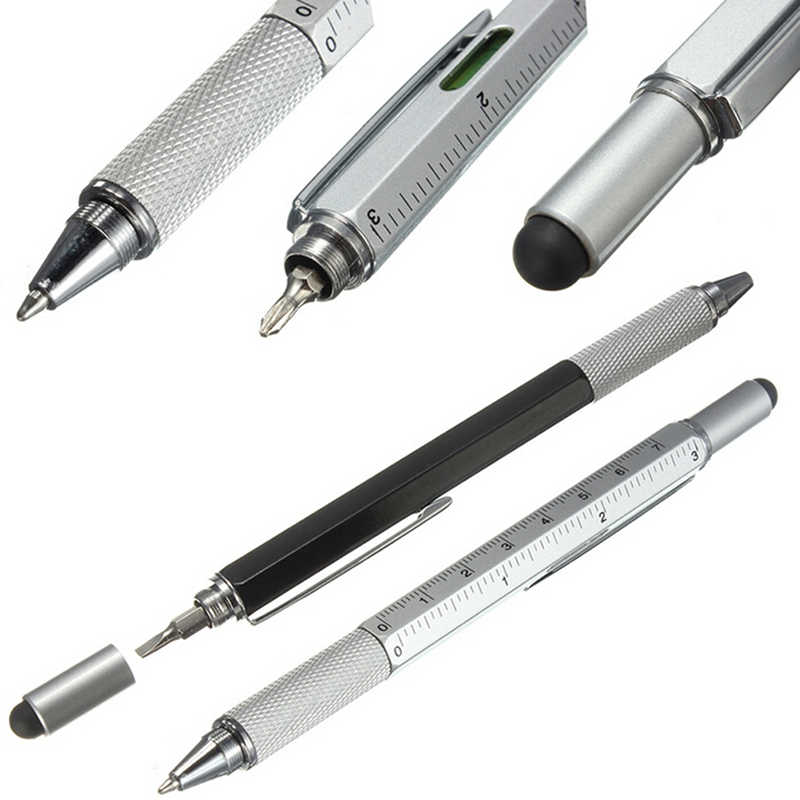 6 in 1 Pocket Multi Function Pen with Touch Screen Ruler Level Multi Head Mini Screwdriver
