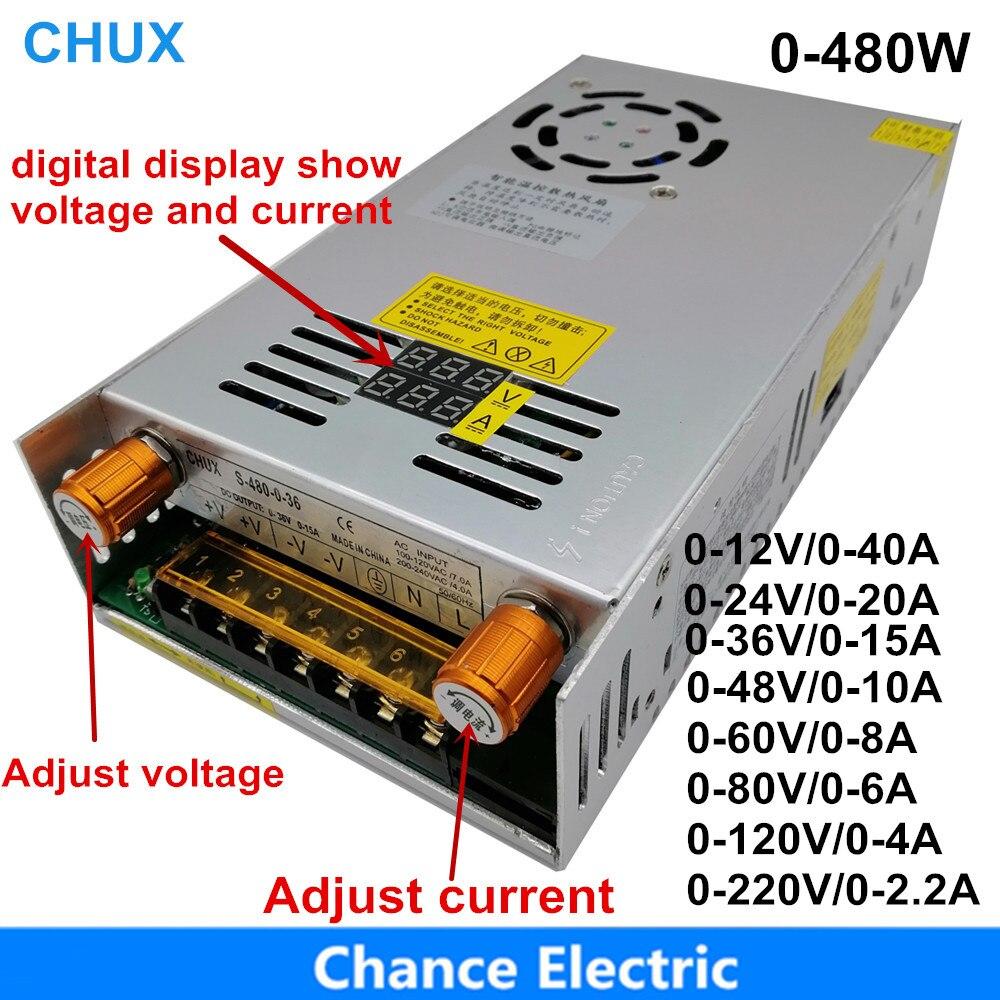 480W Einstellbare Schalt netzteil mit Digital display LED netzteil DC 12V 5V 24V 36V 48V 60V 80V 120V 160v 220V