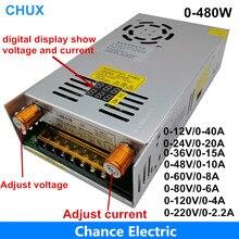Fuente de alimentación conmutada ajustable de 480W con pantalla Digital, fuente de alimentación para LED DC 12V 5V 24V 36V 48V 60V 80V 120V 160v 220V