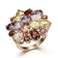 free shipping! Tantalising fashion rose gold flower ring crystal finger ring female ka282