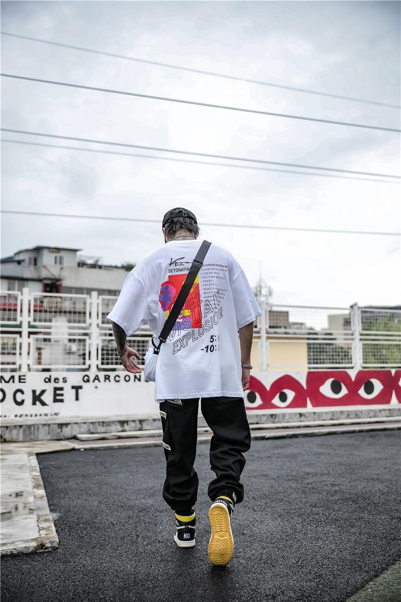Dark Icon Side Split Fluorescent Green T-shirt with Messenger Bag Hiphop Tshirt Men Cotton Tee Shirts Streetwear Clothing 22