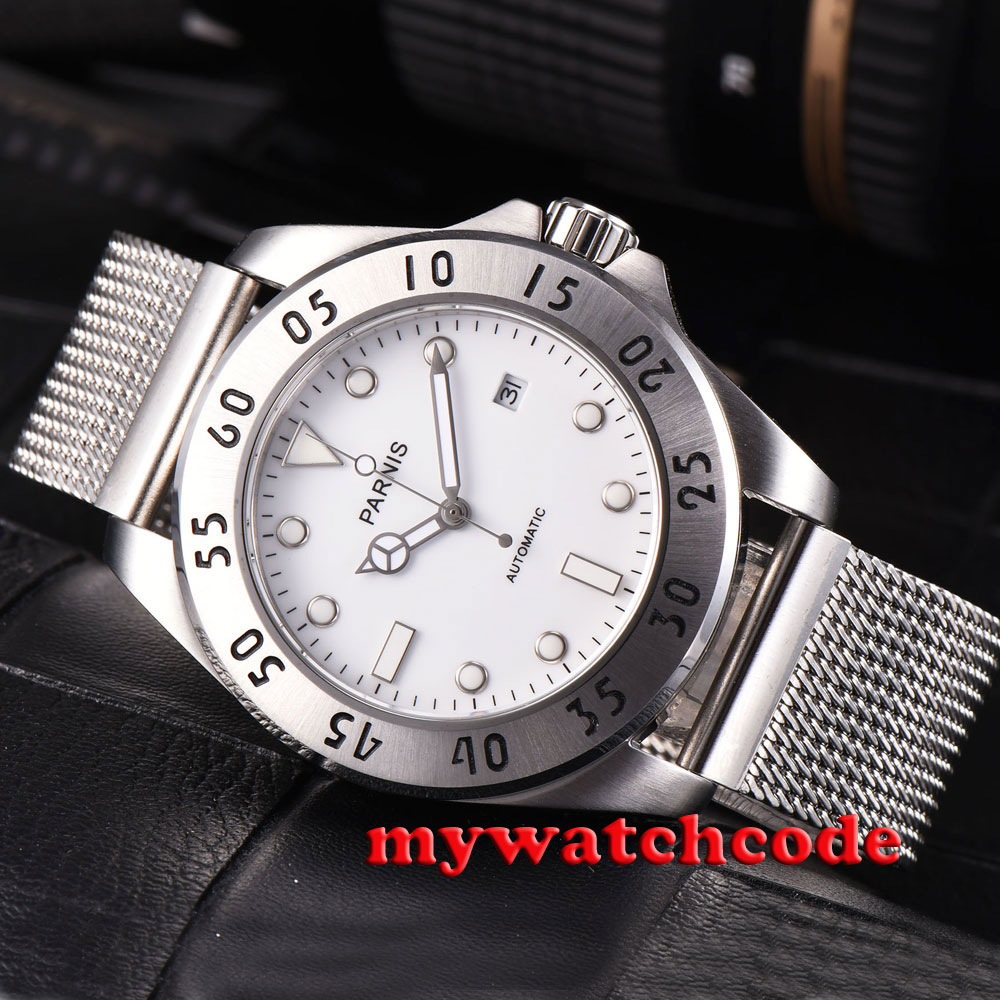 43mm parnis white dial luminous marks sapphire glass steel bezel miyota automatic mens watch602 romantic sweet gifts 43mm parnis white dial luminous marks sapphire crystal 21 jewels miyota automatic mechanical men s watch