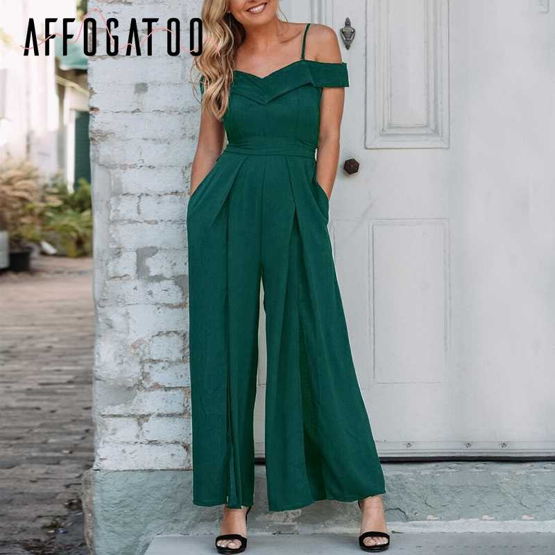 Affogatoo Sexy v-neck off shoulder women jumpsuit Casual loose high waist jumpsuit romper Elegant bow solid party jumpsuit femme