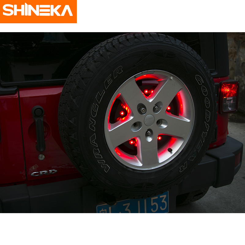 SHINEKA Metal Spare Tire Light Rear Break Light LED Exterior Accessories for Jeep Wrangler JK 2007+ Car Styling